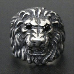 Wholesale stainless ring lion - 1pc Fast Free Shipping Crystal Eyes Lion Ring 316L Stainless Steel Popular Fashion Band Party Lion King Ring
