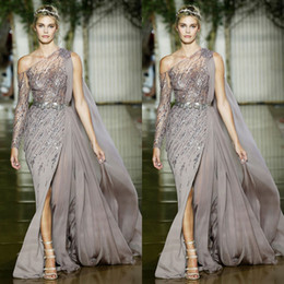 Wholesale One Long Sleeve Pageant Dresses - 2018 Zuhair Murad Side Split Mermaid Prom Dresses One Shoulder Long Sleeves Chiffon Formal Dress Evening Wear Elegant Sequins Pageant Gowns