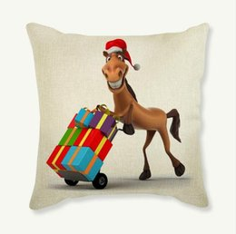 Wholesale Giraffe Throw - Fast Delivery Lovely Cute Christmas Giraffe Home Decoration Sofa Throw Pillows Cartoon Animal Print Xmas Gift Decorative Car Seat Cushion
