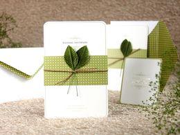 Wholesale European Wedding Invitations - Free Shipping Wedding Essential Stereoscopic Leafage Wedding Invitations Card European Creative Personalized Romance