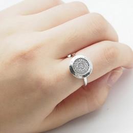 asiatische stieg Rabatt Kompatibel mit Pandora Schmuck Silber Ring 925 Sterling Silber überzogene Legierung runde Scheibe Ring mit cz gepflastert Silber Gold Roségold 3 Farben