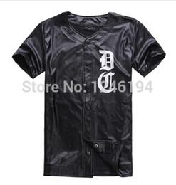 Wholesale Tshirt Leather Sleeves Men - Wholesale-2015 summer most pupular men baseball tshirt PU short sleeve T-shirt leather tees DXPECHEF 99 black tee fashion FREE SHIPPING