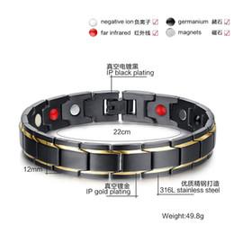Wholesale Health Steel Titanium Bracelet - Free Shipping! 4in 1 Bio Men European Titanium Steel Energy Magnetic Germanium Therapy Radiation Fatigue Health Bracelet