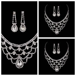 Wholesale Drape Earrings - Luxurious Full Crystal Beaded Bridal Jewelry Rhinestone Necklace Earring Sets Bride's Wedding Decoration Evening Prom Party Water Draped Top