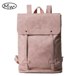 Wholesale Locked Belts For Women - Simple fashion soft PU women leather backpack school bags for teenager girls double belt students laptop bag backpack Mochila