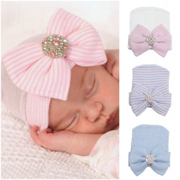 Wholesale Cute Crochet Caps - Newborn Baby Cute and Pretty Beanie Hat With Big Bow Baby Infant Girl Soft Warm Hospital Hat Cap for 0-3 Month