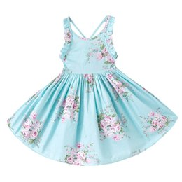 Wholesale Wholesale Backless Dresses - 3 Colors Girls Vintage Floral Toddler Dress Ruffles sleeve Backless Blue pink printed baby girls summer dress Boutique girls Clothes 1-12Y