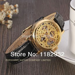 Wholesale Mechanical Chronograph Skeleton Watch - womens watch 2015 Winner new Mechanical women gold color skeleton watch free shipping brand fashion casual watch
