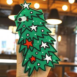 Wholesale Soft Silicone Handbag For Iphone - Merry Christmas 3D Evergreen Trees Soft Silicone Mobile Phone Cases For iPhoneX 10 8 8Plus 7 7Plus 6 6S 6Plus Protective Shell