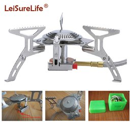 Wholesale Fire Burner - New portable camping gas stove burner with fire lighter and carry bag for hiking outdoor tableware free shipping