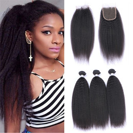 Wholesale Coarse Yaki Lace - Italian Coarse Yaki Brazilian Hair Bundles with Lace Closure Kinky Straight Human Hair Weaves with 4X4 Top Closure Yaki Straight Hair 4Pcs