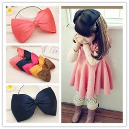 Wholesale Baby Boutique Headband Flowers - Oversized bow children kids baby girls hair accessories hair bands headwear bow flower Retail wholesale Boutique tiara 5 color FS015