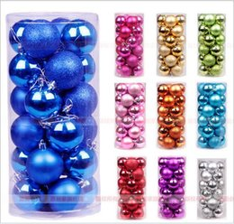 Wholesale Blue Plastic Ornaments Balls - New Year Christmas Tree Ornament Colorful Ball 24 Lot Diameter 4cm Light Christmas Balls Decorations Supplies natal christmas navidad GQ89