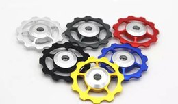 Wholesale Al Alloys - 11T bicycle bearing rear derailleur jockey wheel pulley MTB Mountain Bike Bicycle Al alloy Jockey Wheels Pulley