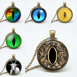 Wholesale American Goat - 2015 glass eye pendant personality goat Necklaces vintage dragon eyes bronze chain art photo glass dome necklaces jewelry