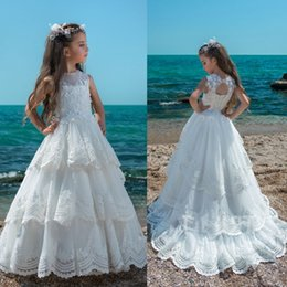 Wholesale Lace Flower Girl Dresses China - 2017 Trintity White Flower Girl Dresses Jewel Neck Hollow Back Kids Wedding Dress From China Tiered Skirts Lace Girls Pageant Gown