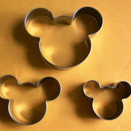 Wholesale Cute Fondant Cookies - 3PCS SET Cute Mickey Mouse Shape Stamp Fondant Cake Cooking Tools Pastry Biscuit Cookie Cutters