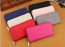 Wholesale Long Wallet Leather - Hot ! wholesale 2018 M famous brand bag fashion single zipper cheap luxury women pu leather wallet lady ladies woman long purse