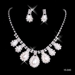 Wholesale Drop Pearl Necklace Set Cheap - 2015 Cheap Elegant Jewelry Wedding Bridal Pearl Rhinestone Necklace Earring Set for Party Prom Evening Bride Free Shipping In Stock