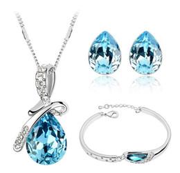 Nuevos Conjuntos de joyas de cristal Gotas de cristal Colgantes Collares Pendiente de botón Pulsera Brazaletes Cadena de plata plateado para mujeres ZQ desde fabricantes