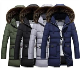 Wholesale Green Overcoat For Men - 3XL Hooded Thick Down Coat For Men Peff Sleeve Multi Pockets Men Parkas Hat Detachable Casual Winter Wild Men Overcoat Jackets J161049