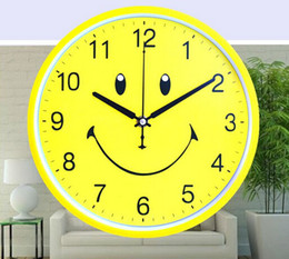 Wholesale Kid Lovely Smile - 12'' Cute Cartoon Lovely Kids smiling face Wall Clock Mute creative bedroom children yellow modern quartz clock Wall Clock Home Decor Gift