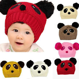 Wholesale Panda Knitted Hat - Wholesale-Novelty Cute Baby Girl Boy Toddler Winter Warm Knit knitting Wool Crochet Panda Animal Hat Cap Beanie Wear Gift 02A5