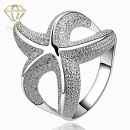 Wholesale Large Crystal Silver Rings - 2015 New Design Animal Large Starfish Crystal 925 Sterling Silver Ring Jewelry for Women Wholesale