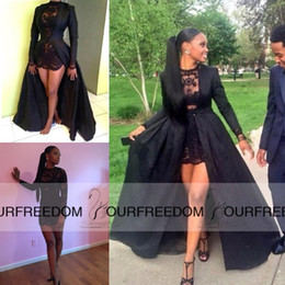 Wholesale Petite Winter Coats - Carnaval 2016 Sexy Two Piece Short Prom Dresses See Through Black Lace Long Sleeve Detachable Coat Floor Evening Dresses High Quality