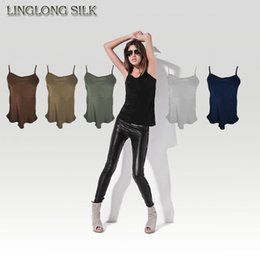 Wholesale Silk Fabric Shirts - Wholesale-Silk Camisole Size 100% Natural Silk Fabric Silk Underwear Womens Tops Camisole Casual T-shirt Factory Direct Wholesale