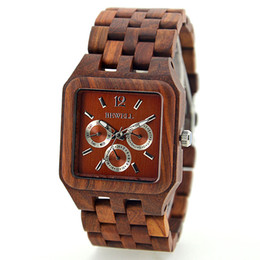 Wholesale Vintage Square Mens Watches - Classic men Tense Wood clock square dial vintage elegant red sandalwood maple mens wrist watch for dad week date window wooden chain watches
