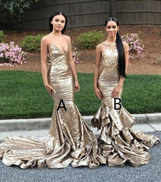 Wholesale Bling White Girl Dresses - Mermaid Halter Backless Champagne Bling Sequined Prom Dresses 2018 Ruffles Sweep Train Party Dresses Evening Wear Black Girl