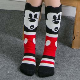 Wholesale Knitting Clothes For Babies - Mickey Knit Knee High Socks Boys Girls Baby Socks 2015 Korean Autumn Winter Socks For Kids Children Clothes Kids Sock Child Clothing C18221
