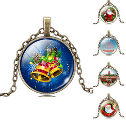 Wholesale Cheap Glass Necklaces - 2015 Cheap Christmas Gift Necklace Glass Cabochon Santa Claus Picture Statement Chain Necklace Vintage Bronze Sterling Silver Jewelery DH