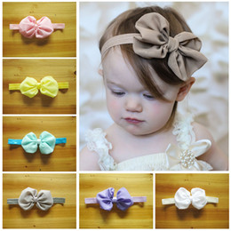 Wholesale Newborn Wears - Infant girl fashion Chiffon 10 Colors for choose Bow Headband Children Hair Accessories Newborn Bowknot Hairbands Baby Photography wear