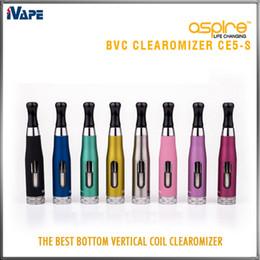 2019 atomizador de cerâmica Aspire CE5-S BVC Clearomizer 100% Autêntico Aspire CE5S BVC BDC E Cigarro eletrônico Atomizadores eGo 1,8 ml CE5S Vaporizador com bobinas BVC BDC
