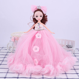 Wholesale Pink Rubber Doll - Girl doll pink wedding lace confused doll 306 degrees rotating pendant doll girl toys (10 inch) Christmas gifts