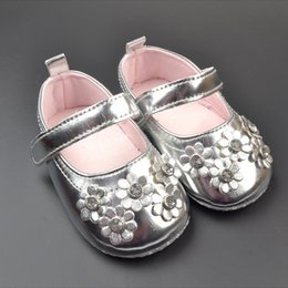Wholesale Shoes Girls Canvas Flower - Girl lovely silvery flower shoes 2015 new Soft non slip bottom Toddler shoes B001