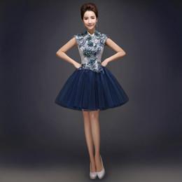 Minze farbe blumen online-Mode Ballkleid Stehkragen Spitze Tüll Cocktailkleid mit handgemachter Blume 2015 Marineblau Mintgrün Rot