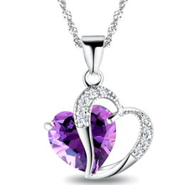 Wholesale Amethyst Fashion Jewelry - Newest Women Crystal Love Heart Pendants Necklaces Jewelry Fashion Girls Lady Heart Crystal Amethyst Pendant Necklace NEW Jewelry