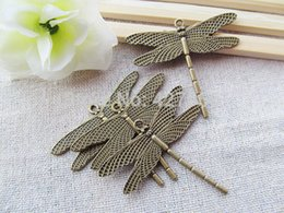 Wholesale Antique Bronze Filigree Charm Findings - 50pcs Filigree Antique Silver tone  Antique Bronze Cute Dragonfly Pendant Hanging Charm Finding,DIY Accessory Jewellery Making