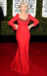 Wholesale Helen Mirren Red Carpet Images - Helen Mirren 2015 Red Celebrity Dresses For 72nd Golden Globe Beaded V-Neck Long Sleeve Mermaid Sweep Train Satin Mother Dresses
