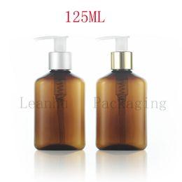 2019 frascos de shampoo de plástico marrom Brown Plástico Loção Creme Garrafa De Embalagem Da Bomba, 125cc Garrafas De Plástico Recarregável Shampoo, Cuidados Pessoais Vazio Recipientes Cosméticos frascos de shampoo de plástico marrom barato