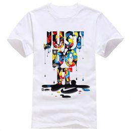 Wholesale Male Gradient Shirt - 2017 New Fashion T-shirt Brand Clothing Just Do It Letter Print Men T Shirt Summer Sport Top Tees Street wear Anime Male Tshirt