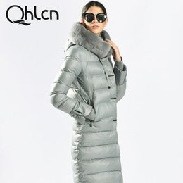 Wholesale Jacket Rabbit Fur Hoods - QHLCN 2016 Womens Winter Down Jackets And Coats Medium Length Women Rabbit Fur Warm Female thickening Warm Parka Hood Over Coat