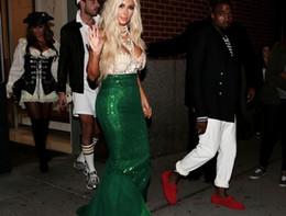kim kardashian sexy grünes kleid Rabatt Perlen Pailletten Schatzausschnitt Kim Kardashian Celebrity Kleider Grüne Pailletten Glänzende Sexy Abendkleid Abendkleider Keine Hülse Vestido