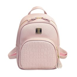 Wholesale School Bags Girls Leather - High Quality Backpack Women Backpacks Alligator School Bags For Girls Pu Leather Softback Black Bagpack Small sac a dos ecole