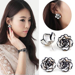cute womens jewelry Coupons - New Arrival Elegant Fashion Cute Temperament Womens Ladies Girls Rose Flower Stud Earrings Jewelry Drop Shipping EAR-001958