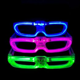 Wholesale Glass Fluorescence - 2015 New Led Cold Light Glasses EL Wire Glowing Flash Glasses Flashing Glasses Fluorescence Party Glasses DJ Party Christmas Holiday Props
