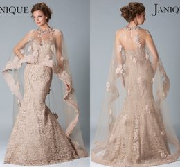 Wholesale Cape Dresses - 2017 Janique Dresses Evening Wear Sweetheart Sleeveless Mermaid Champagne Lace Beaded With Cape Prom Formal Party Dress Custom Made